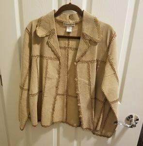 Tan dressbarn over jacket w/ crochet sz M (k007)